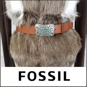 FOSSIL Silver/Turquoise Buckle Boho Leather Belt L